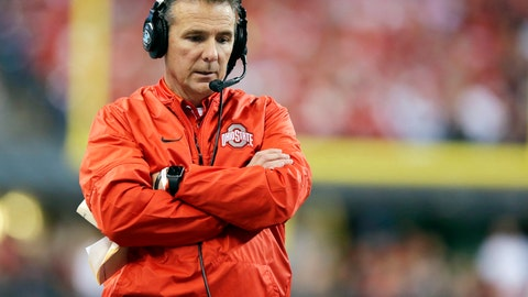 <p>               FILE - In this Dec. 2, 2017, file photo, Ohio State head coach Urban Meyer walks the sidelines during the first half of the Big Ten championship NCAA college football game against Wisconsin in Indianapolis. Ohio State hosts Oregon State on Satuday, Sept. 1, 20 open the college football season without Meyer, who is sitting out the first of three games after his suspension. (AP Photo/Michael Conroy, File)             </p>