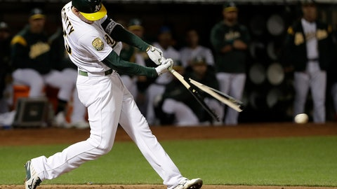 <p>               Oakland Athletics' Stephen Piscotty breaks his bat on a two-run single against the New York Yankees during the third inning of a baseball game in Oakland, Calif., Wednesday, Sept. 5, 2018. (AP Photo/Jeff Chiu)             </p>