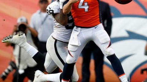 Denver Broncos Quarterback Case Keenum  Fumbles Under Pressure From Oakland