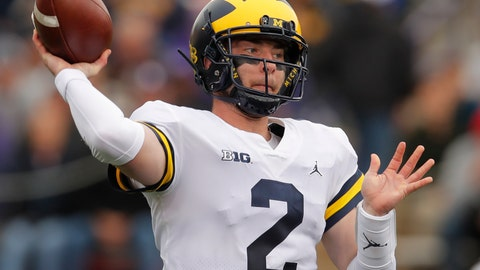 <p>               Michigan's Shea Patterson passes against Northwestern during the first half of an NCAA college football game Saturday, Sept. 29, 2018, in Evanston, Ill.. (AP Photo/Jim Young)             </p>