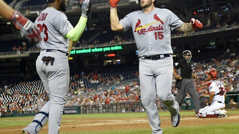 <p>               St. Louis Cardinals' Matt Adams (15) celebrates his home run with Marcell Ozuna (23) during the fifth inning of a baseball game against the Washington Nationals, Wednesday, Sept. 5, 2018, in Washington. (AP Photo/Nick Wass)             </p>