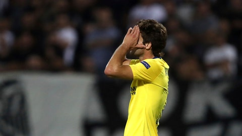 <p>               Chelsea's Marcos Alosno reacts after missing a chance to score during a Group L Europa League soccer match between PAOK and Chelsea at Toumba stadium in the northern Greek port city of Thessaloniki, Thursday, Sept. 20, 2018. (AP Photo/Thanassis Stavrakis)             </p>