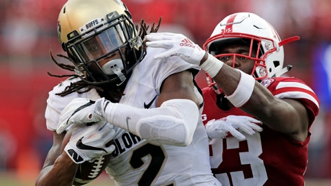 <p>               FILE - In this Sept. 8, 2018, file photo, Colorado wide receiver Laviska Shenault Jr. (2) makes a catch for a touchdown against Nebraska defensive back Dicaprio Bootle (23) during the second half of an NCAA college football game in Lincoln, Neb. Shenoult's potential is being realized in a big way. (AP Photo/Nati Harnik, File)             </p>