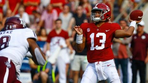 <p>               Alabama quarterback Tua Tagovailoa (13) throws a pass against Texas A&M during the first half of an NCAA college football game, Saturday, Sept. 22, 2018, in Tuscaloosa, Ala. (AP Photo/Butch Dill)             </p>