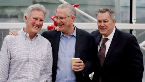 <p>               FILE - In this April 11, 2018, file photo, Tod Leiweke, center, chats with his brothers Tracey Leiweke, left, and Tim Leiweke as they pose for a photo following a news conference naming Tod Leiweke as the president and CEO for a prospective NHL expansion hockey team, in Seattle. NHL deputy commissioner Bill Daly says December is the earliest the Board of Governors will vote on potential expansion to Seattle. (AP Photo/Elaine Thompson, File)             </p>