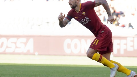 <p>               Roma's Aleksandar Kolarov celebrates after scoring his side's second goal during the Serie A soccer match between Roma and Lazio, at the Rome Olympic Stadium, Saturday, Sept. 29, 2018. (AP Photo/Andrew Medichini)             </p>