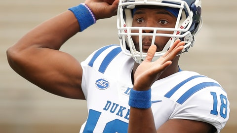<p>               FILE - In this Saturday, Sept. 8, 2018, file photo, Duke's Quentin Harris throws a pass during the second half of an NCAA college football game against Northwestern in Evanston, Ill. Before leaving North Carolina a day early for Texas to get out ahead of Hurricane Florence, and changing their final preparations for Saturday's game against Baylor, the Blue Devils were already getting Harris ready for his first career start in place of injured Daniel Jones. (AP Photo/Jim Young, File)             </p>