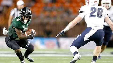 <p>               Hawaii wide receiver Cedric Byrd (6) looks to get away from Duquesne defensive back Spencer Demedal (28) during the second quarter of an NCAA college football game Saturday, Sept. 22, 2018, in Honolulu. (AP Photo/Marco Garcia)             </p>