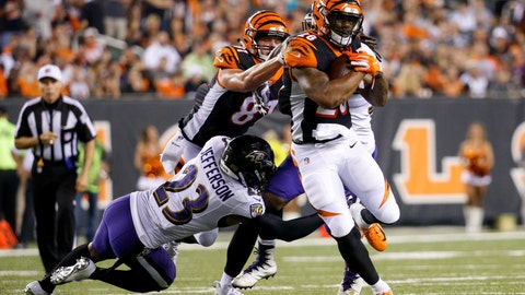 <p>               FILE - In this Sept. 13, 2018, file photo, Cincinnati Bengals running back Joe Mixon (28) breaks away from Baltimore Ravens defensive back Tony Jefferson (23) on a run in the first half of an NFL football game, in Cincinnati. The Bengals get ready to play at least one game without running back Joe Mixon, sidelined by a knee injury. (AP Photo/Frank Victores, File)             </p>