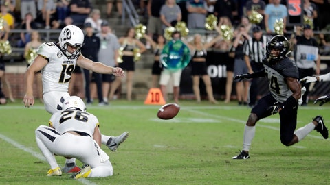 <p>               Missouri place kicker Tucker McCann (19) kicks a game-winning, last-second field goal from the hold of Corey Fatony against Purdue in the second half of an NCAA college football game in West Lafayette, Ind., Saturday, Sept. 15, 2018. Missouri defeated Purdue 40-37. (AP Photo/Michael Conroy)             </p>
