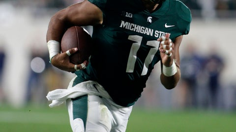 <p>               FILE - In this Aug. 31, 2018, file photo, Michigan State's Connor Heyward runs for the go-ahead touchdown against Utah State during the fourth quarter of an NCAA college football game in East Lansing, Mich. Heyward had 42 yards on just five carries, and two of those runs went for touchdowns. Michigan State was down by a point before Heyward's 13-yard TD run on an option play with 2:00 remaining. (AP Photo/Al Goldis, File)             </p>