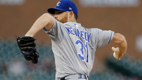 <p>               Kansas City Royals starting pitcher Ian Kennedy throws during the first inning of a baseball game against the Detroit Tigers, Friday, Sept. 21, 2018, in Detroit. (AP Photo/Carlos Osorio)             </p>