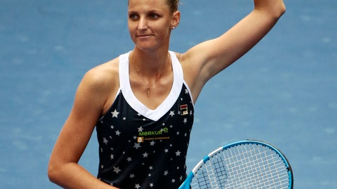 <p>               Karolina Pliskova, of the Czech Republic, waves to fans after defeating Ashleigh Barty, of Australia, in the fourth round of the U.S. Open tennis tournament, Sunday, Sept. 2, 2018, in New York. (AP Photo/Andres Kudacki)             </p>