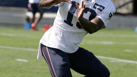 <p>               New England Patriots wide receiver Phillip Dorsett catches the ball during an NFL football practice, Wednesday, Sept. 5, 2018, in Foxborough, Mass. (AP Photo/Steven Senne)             </p>