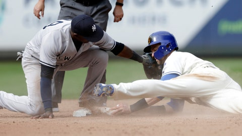 <p>               Seattle Mariners' Mitch Haniger steals second before the tag from New York Yankees shortstop Adeiny Hechavarria during the eighth inning of a baseball game, Sunday, Sept. 9, 2018, in Seattle. Hanger went on to score in the 3-2 win for the Mariners. (AP Photo/John Froschauer)             </p>