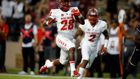 <p>               New Mexico running back Ahmari Davis (28) leaps into the end zone to score a touchdown during the second half of an NCAA college football game against New Mexico State in Las Cruces, N.M., Saturday, Sept. 15, 2018. New Mexico won 42-25. (AP Photo/Andres Leighton)             </p>