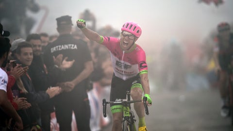 <p>               Canada's Michael Woods celebrates after winning the 17th stage of the Spanish Vuelta cycling race between Getxo and Balcon de Vizcaya, northern Spain, Wednesday, Sept.12, 2018. (AP Photo/Alvaro Barrientos)             </p>
