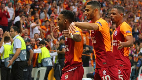 <p>               Galatasaray's forward Garry Rodrigues, left, celebrates after scoring against Lokomotiv Moscow during the Champions League Group D soccer match between Galatasaray and Lokomotiv Moscow in Istanbul, Tuesday, Sept. 18, 2018. (AP Photo)             </p>