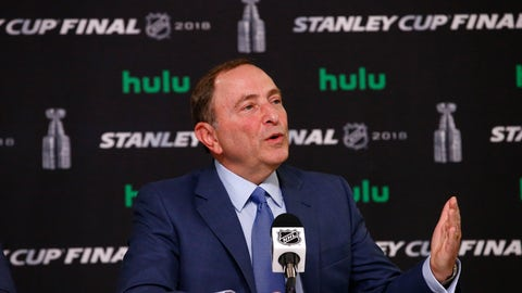 "<p>               FILE - In this May 28, 2018 file photo NHL Commissioner Gary Bettman speaks during a news conference prior to Game 1 of the NHL Stanley Cup Final hockey game between the Vegas Golden Knights and the Washington Capitals in Las Vegas. Bettman downplayed the significance of entering mediation with former players in a bid to settle a concussion lawsuit, saying Tuesday, Sept. 11, 2018 the league is simply following a judge's order. ""The judge asked us to go into mediation and so we're complying with the judge's request,"" Bettman told The Associated Press. (AP Photo/Ross D. Franklin, file)             </p>"