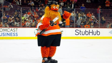 <p>               The Philadelphia Flyers mascot, Gritty, takes to the ice during the first intermission of the Flyers' preseason NHL hockey game against the Boston Bruins, Monday, Sept, 24, 2018, in Philadelphia. (AP Photo/Tom Mihalek)             </p>