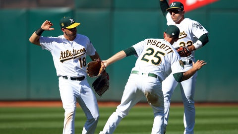 <p>               Oakland Athletics outfielders, from left to right, Chad Pinder, Stephen Piscotty and Ramon Laureano celebrate their win over the Texas Rangers at the end of a baseball game Sunday, Sept. 9, 2018, in Oakland, Calif. (AP Photo/Ben Margot)             </p>