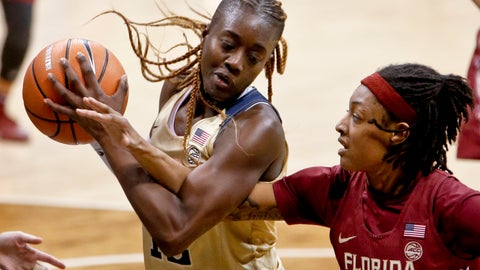 <p>               FILE - In this Feb. 4, 2018, file photo, Pittsburgh's Yacine Diop (12) , left, maintains control of a rebound as Florida State's Nicole Ekhomu (12) reaches for the ball during the second half of an NCAA college basketball game in Pittsburgh. It was a historic day for African teams in the Women's Basketball World Cup. Senegal became the first African country to win a pool game, beating Latvia 70-69 on Sunday. Hours later, Nigeria followed suit, getting its first win ever in the tournament. Both teams have benefited from having players that went to U.S. colleges on them. Senegal guard Diop is a graduate transfer at Louisville this season. (AP Photo/Keith Srakocic, File)             </p>