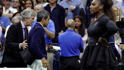 <p>               Chair umpire Carlos Ramos, second from left, is lead off the court by referee Brian Earley after Naomi Osaka, of Japan, defeated Serena Williams in the women's final of the U.S. Open tennis tournament, Saturday, Sept. 8, 2018, in New York. (AP Photo/Julio Cortez)             </p>