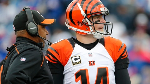 <p>               FILE - In this Sunday, Oct. 18, 2015, file photo, Cincinnati Bengals quarterback Andy Dalton (14) talks to head coach Marvin Lewis during the second half of an NFL football game against the Buffalo Bills in Orchard Park, N.Y. Dalton's 49-yard touchdown pass in the closing seconds of the 2017 season finale at Baltimore knocked the Ravens out of playoff contention and helped Lewis get a two-year extension in Cincinnati. (AP Photo/Bill Wippert, File)             </p>