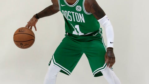 <p>               Boston Celtics guard Kyrie Irving dribbles the ball during a photo shoot at NBA basketball media day, Monday, Sept. 24, 2018, in Canton, Mass. (AP Photo/Steven Senne)             </p>