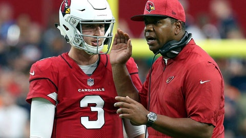 <p>               FILE - In this Sunday, Sept. 23, 2018, file photo, Arizona Cardinals quarterback Josh Rosen (3) talks with quarterbacks coach Byron Leftwich, right, during the second half of an NFL football game against the Chicago Bears in Glendale, Ariz. Four games into his NFL career, Rosen is a starting quarterback and his job is a tough one. He will lead the winless Cardinals into Sunday's game against Seattle.  (AP Photo/Ralph Freso, File)             </p>