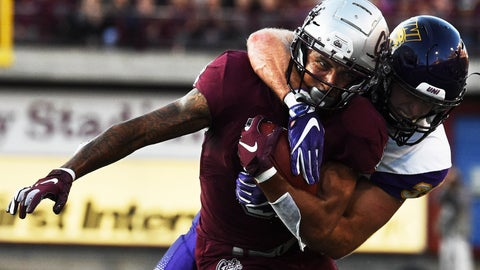 <p>               Northern Iowa linebacker Duncan Ferch makes an open-field tackle on University of Montana wide receiver Keenan Curran during the first half of an NCAA college football game in Missoula, Mont., Saturday, Sept. 1, 2018. (Colter Peterson/The Missoulian via AP)             </p>