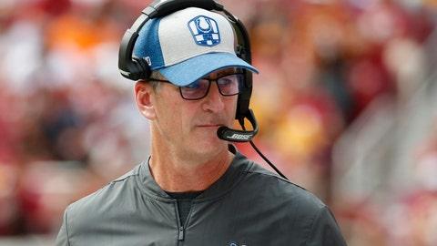 <p>               Indianapolis Colts head coach Frank Reich walks on the sideline in the second half of an NFL football game against the Washington Redskins, Sunday, Sept. 16, 2018, in Landover, Md. (AP Photo/Alex Brandon)             </p>