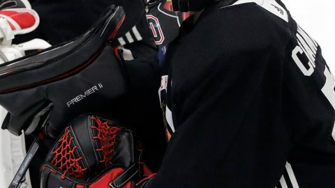 <p>               Chicago Blackhawks goalie Corey Crawford listens to a coach during NHL hockey training camp at the MB Ice Arena, Friday, Sept. 14, 2018, in Chicago. (AP Photo/Nam Y. Huh)             </p>