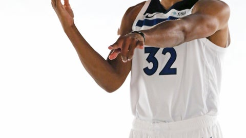<p>               Minnesota Timberwolves' Karl-Anthony Towns, who signed a $190 million, five-year contract extension, poses for a photo during the NBA basketball team's media day at Target Center, Monday, Sept. 24, 2018, in Minneapolis. (AP Photo/Jim Mone)             </p>