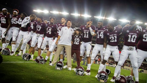 <p>               Texas A&M coach Jimbo Fisher lines up with his son Trey (12) and the Texas A&M football team to sing the Aggie War Hymn after a 59-7 win over Northwestern State in an NCAA college football game Thursday, Aug. 30, 2018, in College Station, Texas. (AP Photo/Sam Craft)             </p>