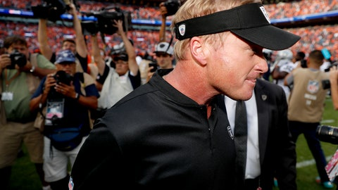 <p>               Oakland Raiders head coach Jon Gruden leaves the field after an NFL football game against the Denver Broncos, Sunday, Sept. 16, 2018, in Denver. The Broncos won 20-19. (AP Photo/David Zalubowski)             </p>