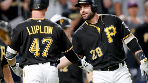 <p>               Pittsburgh Pirates' Jordan Luplow (47) is greeted by on deck batter Francisco Cervelli after hitting a two-run home run against the  in the seventh inning of a baseball game against the Miami Marlins, Friday, Sept. 7, 2018, in Pittsburgh. (AP Photo/Keith Srakocic)             </p>