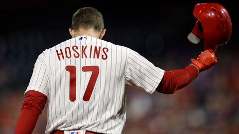 <p>               Philadelphia Phillies' Rhys Hoskins tosses his helmet after pop-fouling out against Washington Nationals starting pitcher Stephen Strasburg during the fifth inning of a baseball game, Wednesday, Sept. 12, 2018, in Philadelphia. Washington won 5-1. (AP Photo/Matt Slocum)             </p>