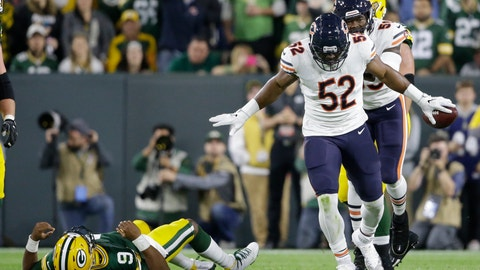 <p>               Chicago Bears' Khalil Mack reacts after recovering a fumble during the first half of an NFL football game against the Green Bay Packers Sunday, Sept. 9, 2018, in Green Bay, Wis. (AP Photo/Jeffrey Phelps)             </p>