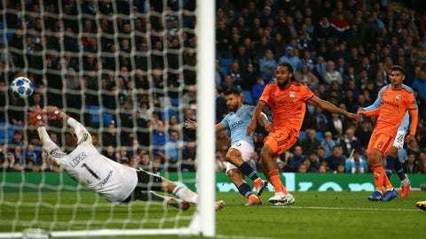 <p>               Manchester City's Sergio Aguero fails to score during the Champions League Group F soccer match between Manchester City and Lyon at the Etihad stadium in Manchester, England, Wednesday, Sept. 19, 2018. (AP Photo/Dave Thompson)             </p>