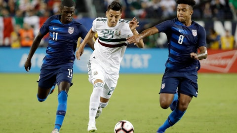 <p>               Mexico midfielder Roberto Alvarado (24) dribbles the ball past U.S. midfielders Tim Weah (11) and Weston McKennie (8) during an international friendly match, Tuesday, Sept. 11, 2018, in Nashville, Tenn. (AP Photo/Mark Humphrey)             </p>