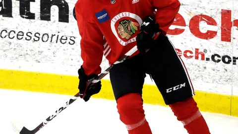 <p>               Chicago Blackhawks forward Nick Schmaltz waits for pass during NHL hockey training camp at the MB Ice Arena, Friday, Sept. 14, 2018, in Chicago. (AP Photo/Nam Y. Huh)             </p>