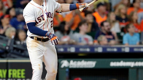 <p>               Houston Astros' Alex Bregman (2) watches his home run against the Los Angeles Angels during the seventh inning of a baseball game Sunday, Sept. 2, 2018, in Houston. (AP Photo/Michael Wyke)             </p>