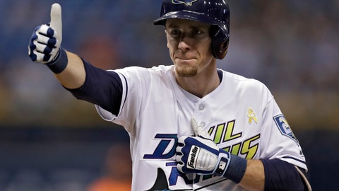 <p>               Tampa Bay Rays' Matt Duffy reacts to the dugout after his two-run single off Baltimore Orioles relief pitcher Paul Fry during the seventh inning of a baseball game Saturday, Sept. 8, 2018, in St. Petersburg, Fla. (AP Photo/Chris O'Meara)             </p>