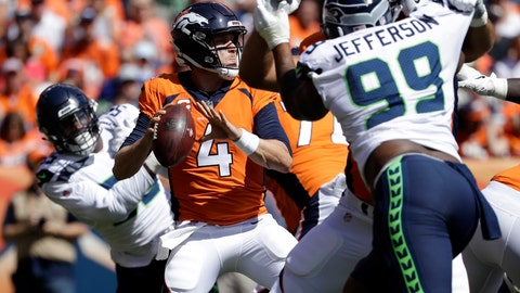 <p>               FILE - In this Sunday, Sept. 9, 2018, file photo, Denver Broncos quarterback Case Keenum throws a pass during the first half of an NFL football game against the Seattle Seahawk in Denver.  Maybe the biggest concern about the overhauled Seahawks defense entering the season was where would the pass rush come from. It proved to be true in the opener when the Seahawks had just one sack and very little pressure. (AP Photo/Jack Dempsey, File)             </p>