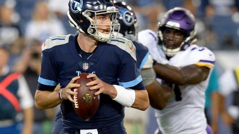<p>               Tennessee Titans quarterback Luke Falk (11) plays against the Minnesota Vikings in the first half of a preseason NFL football game Thursday, Aug. 30, 2018, in Nashville, Tenn. (AP Photo/Mark Zaleski)             </p>