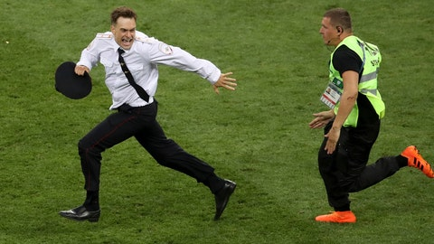 <p>               FILE - In this Sunday, July 15, 2018 file photo, Pyotr Verzilov invading the pitch, runs away as a steward tries to stop him during the France and Croatia 2018 World Cup final match in the Luzhniki Stadium in Moscow, Russia. Of the four people who protested on the field during the World Cup soccer final in Moscow, one is now in intensive care and another spent part of the week in a jail cell.   On Wednesday, Sept. 12, 2018 five days after speaking to the AP, Verzilov was admitted to the intensive care ward of a Moscow hospital. (AP Photo/Thanassis Stavrakis, File)             </p>