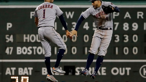 <p>               Houston Astros' Carlos Correa (1) and George Springer celebrate after their win over the Boston Red Sox in a baseball game Friday, Sept. 7, 2018, in Boston. (AP Photo/Winslow Townson)             </p>