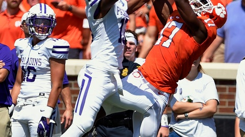 <p>               Clemson's Cornell Powell (17) pulls in a reception while defended by Furman's Quandarius Weems during the first half of an NCAA college football game Saturday, Sept. 1, 2018, in Clemson, S.C. (AP Photo/Richard Shiro)             </p>