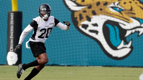 <p>               FILE - In this June 12, 2018, file photo, Jacksonville Jaguars cornerback Jalen Ramsey runs a defensive drill during an NFL football practice, in Jacksonville, Fla. All-Pro cornerback Jalen Ramsey welcomes what might be the most anticipated match-up of his career when the Jaguars open the season at the New York Giants and against star receiver Odell Beckham Jr.  (AP Photo/John Raoux, File)             </p>